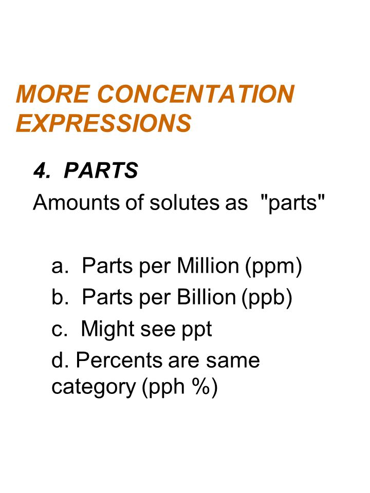 MORE CONCENTATION EXPRESSIONS
