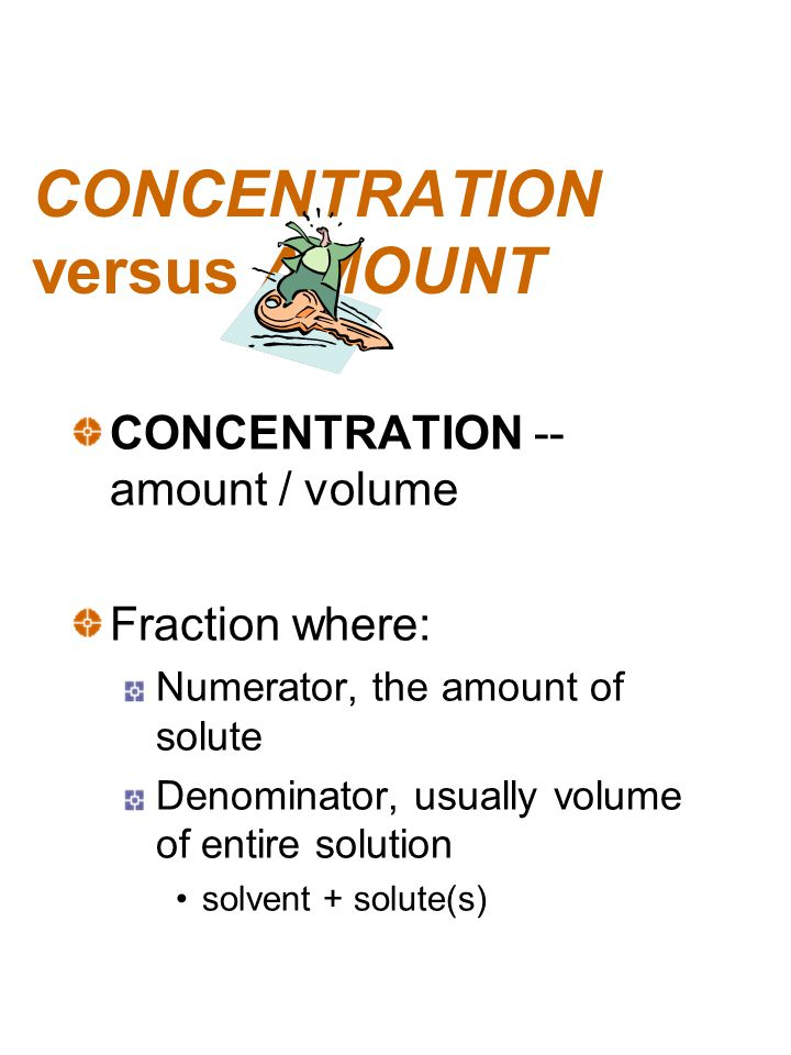 CONCENTRATION versus AMOUNT