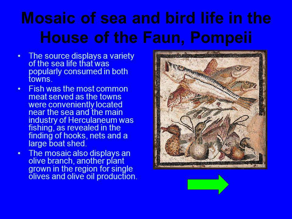 Mosaic of sea and bird life in the House of the Faun, Pompeii
