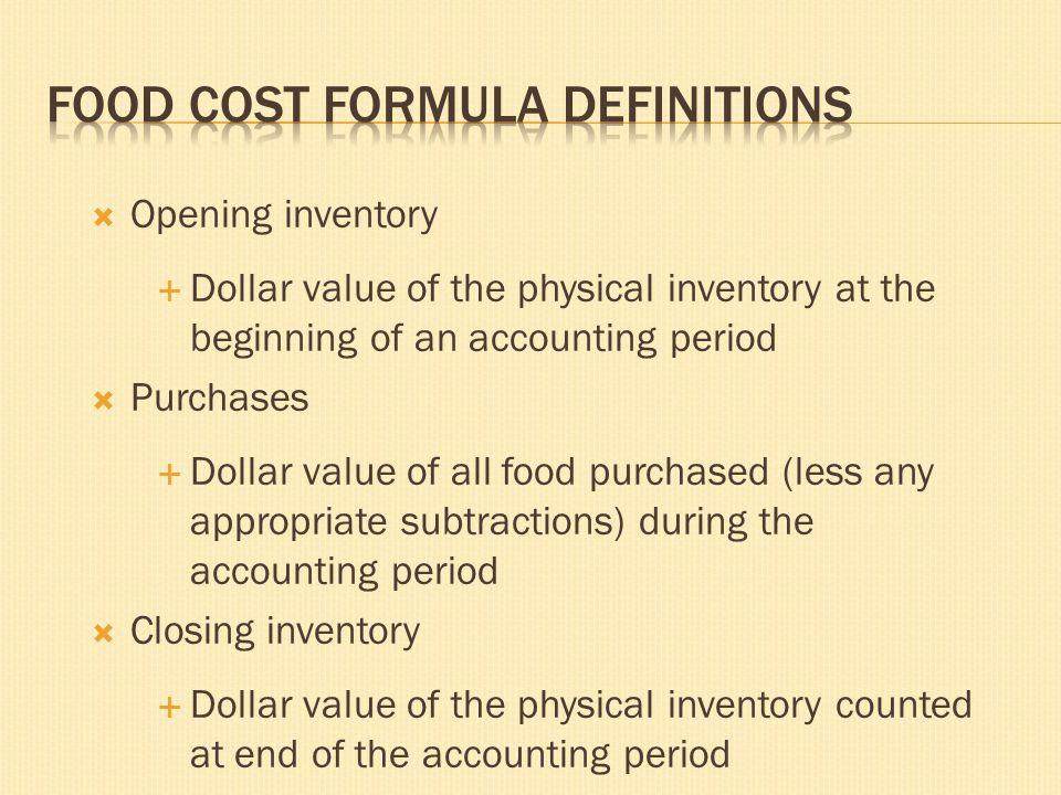 Food Cost Formula Definitions