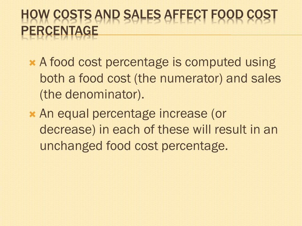How Costs and Sales Affect Food Cost Percentage
