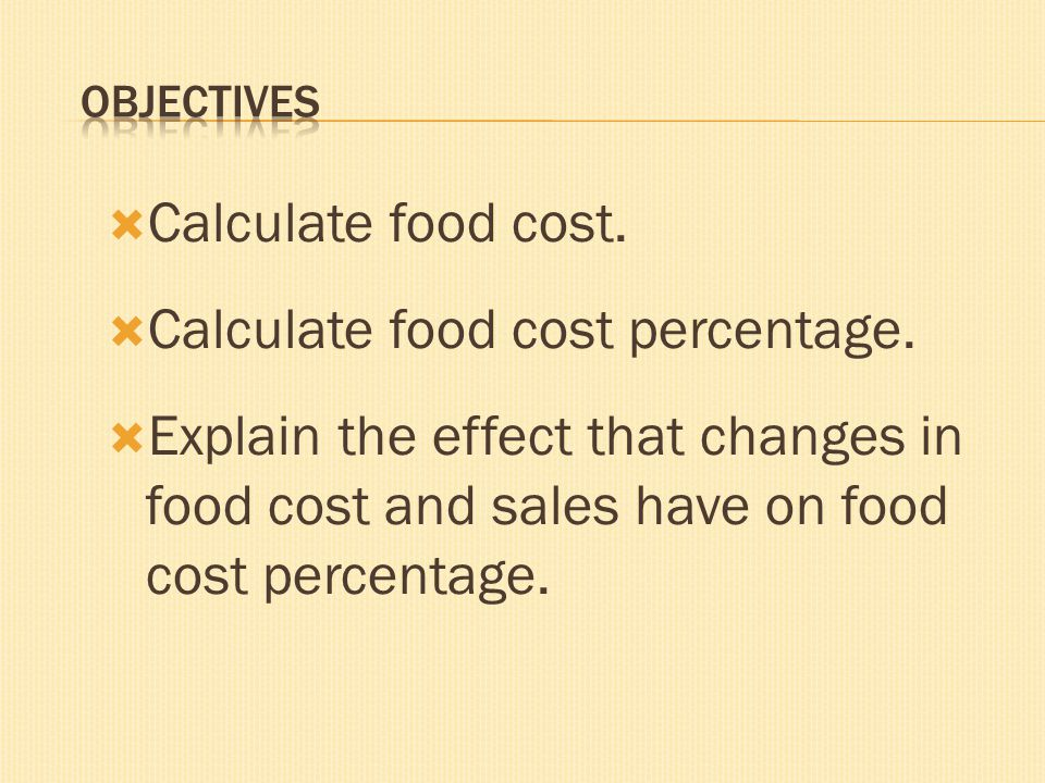 Calculate food cost percentage.