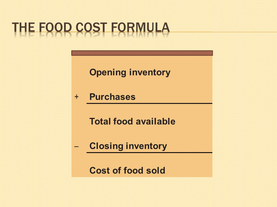 The Food Cost Formula Opening inventory + Purchases