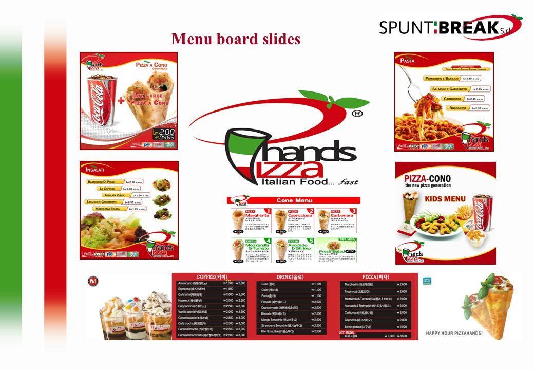 Menu board slides