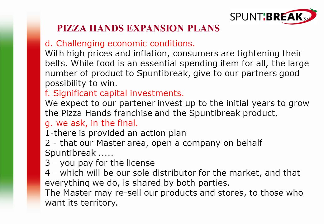 PIZZA HANDS EXPANSION PLANS