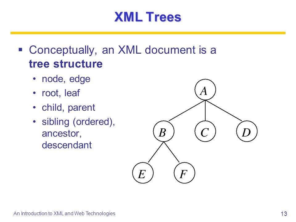 XML Trees Conceptually, an XML document is a tree structure node, edge