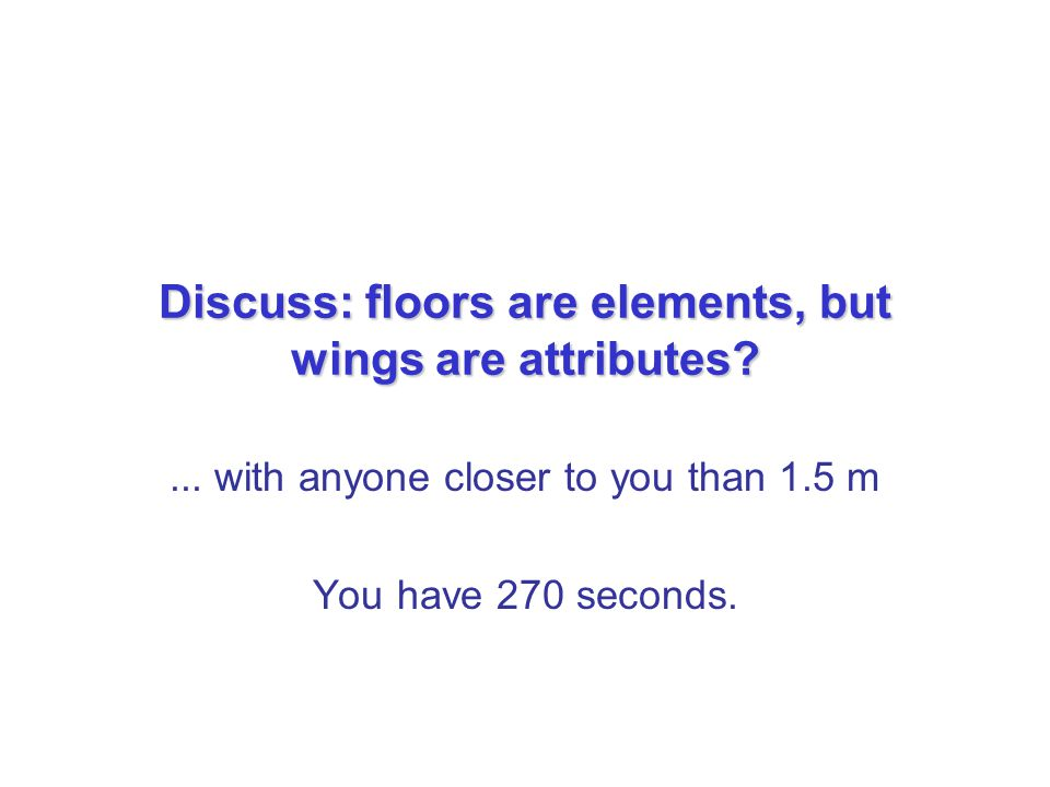 Discuss: floors are elements, but wings are attributes