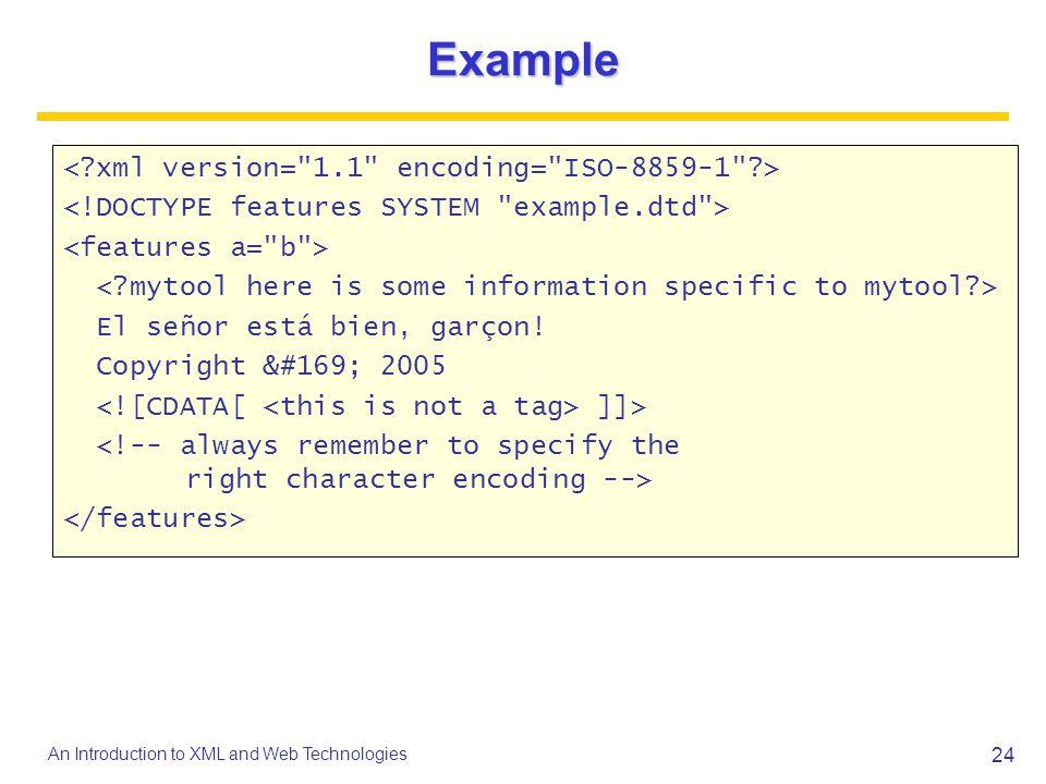 Example < xml version= 1.1 encoding= ISO-8859-1 >