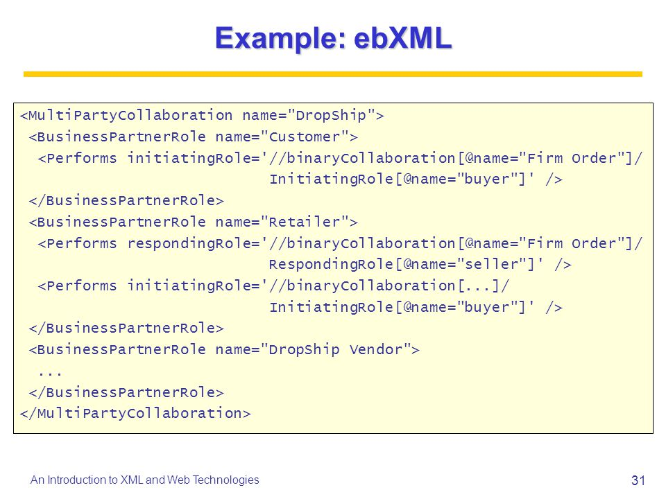 Example: ebXML <MultiPartyCollaboration name= DropShip >