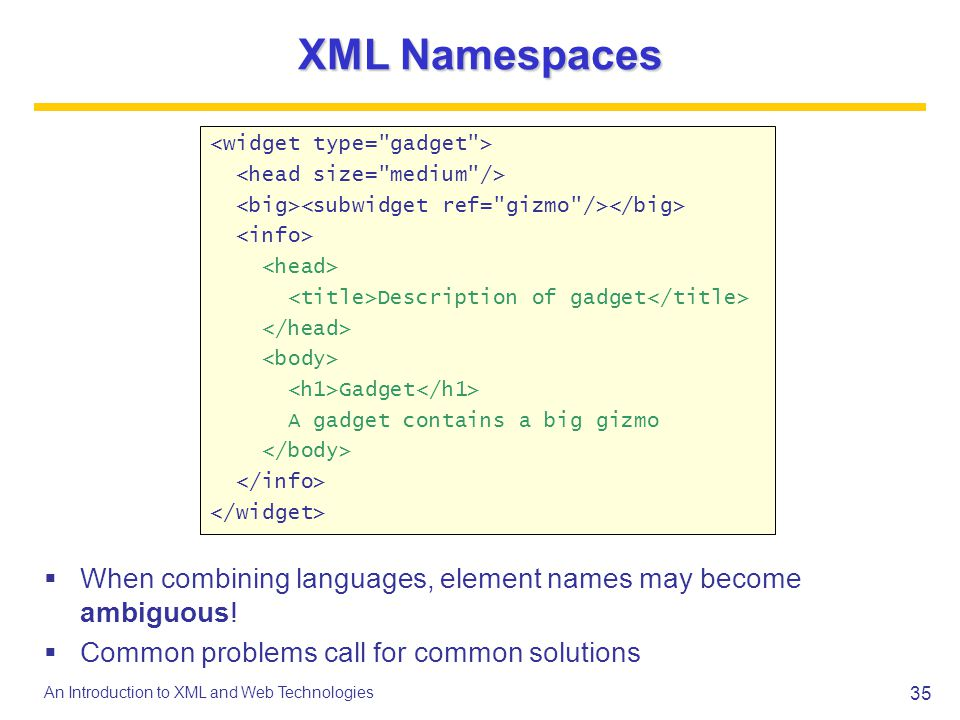 XML Namespaces <widget type= gadget > <head size= medium /> <big><subwidget ref= gizmo /></big> <info>