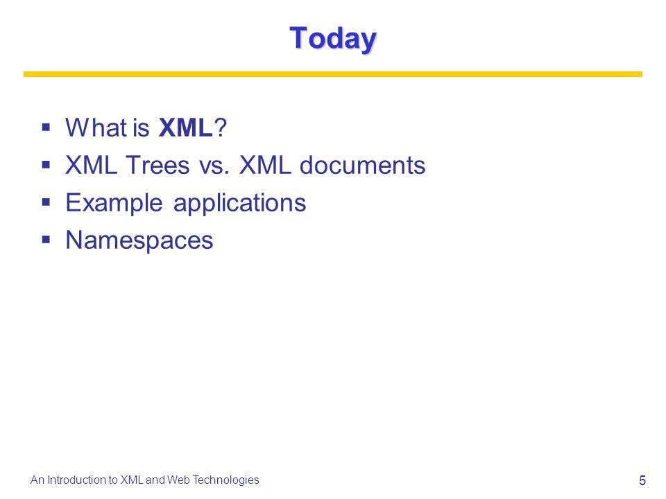 Today What is XML XML Trees vs. XML documents Example applications