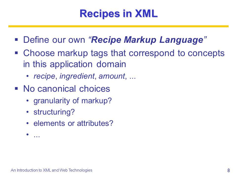 Recipes in XML Define our own Recipe Markup Language