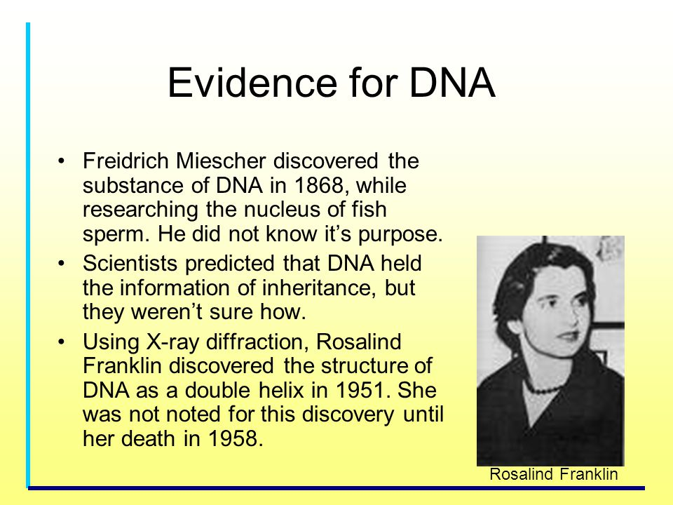 Evidence for DNA