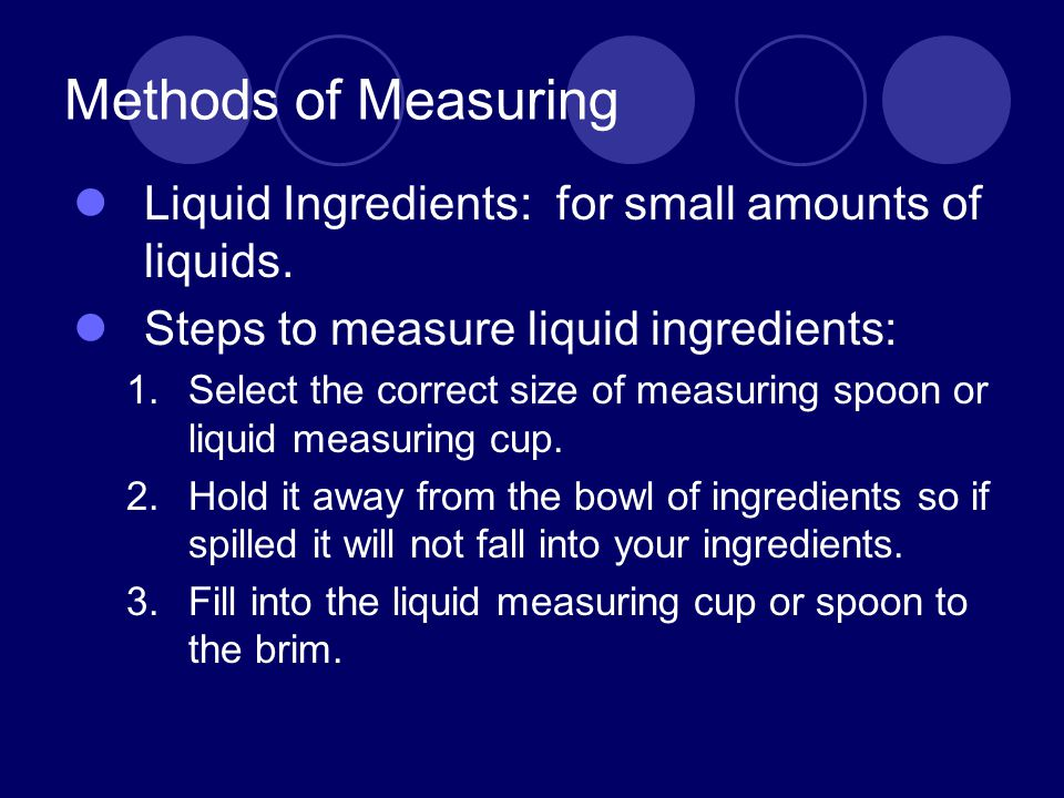 Methods of Measuring Liquid Ingredients: for small amounts of liquids.
