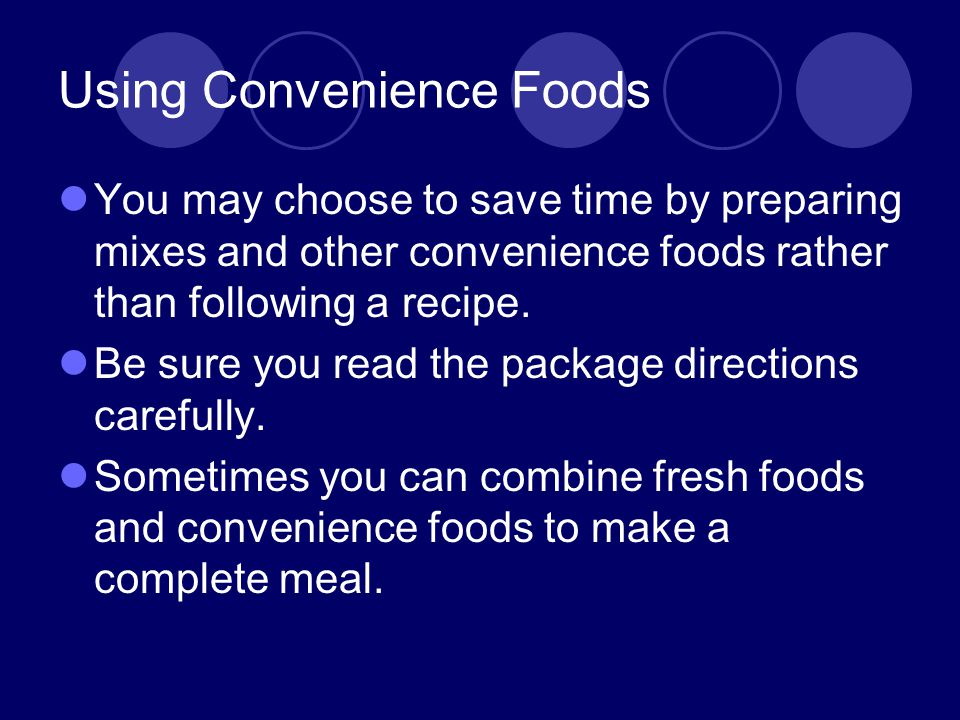Using Convenience Foods