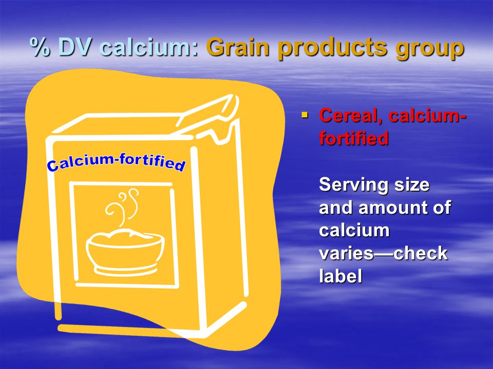 % DV calcium: Grain products group