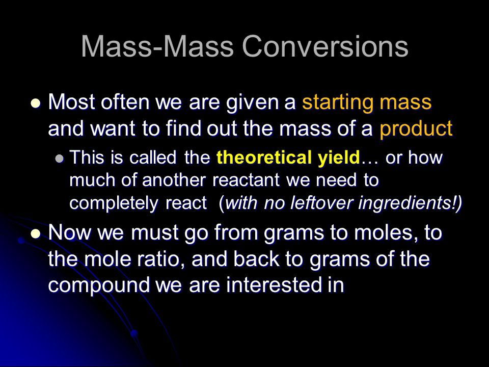 Mass-Mass Conversions