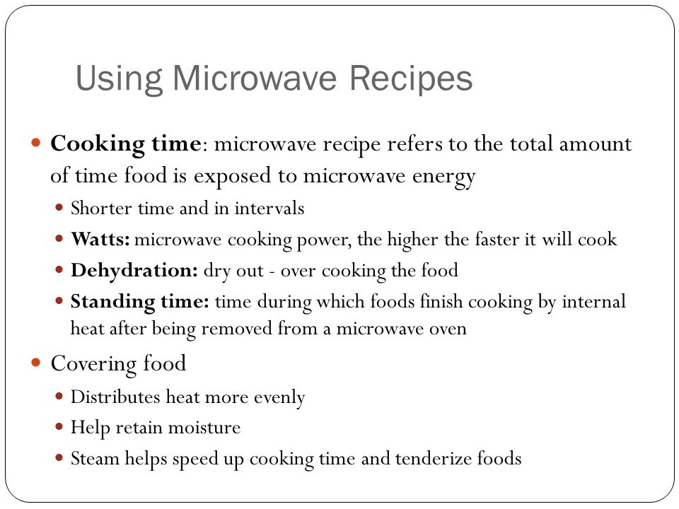 Using Microwave Recipes