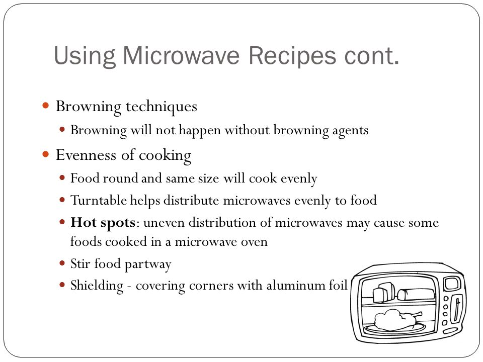 Using Microwave Recipes cont.