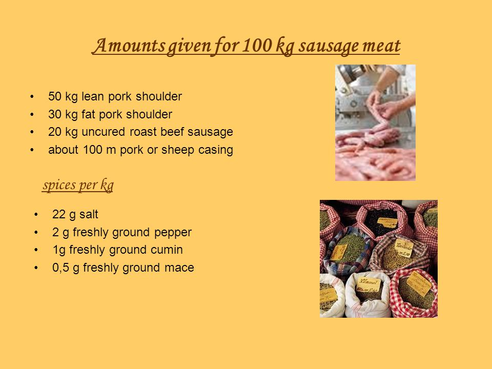 Amounts given for 100 kg sausage meat