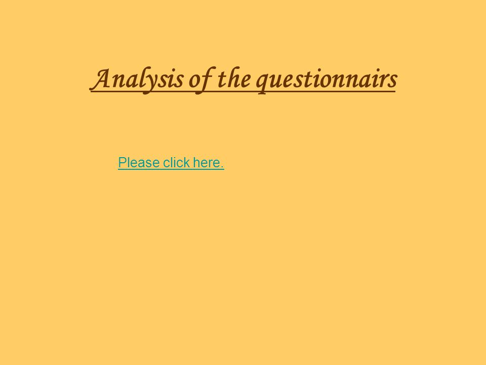Analysis of the questionnairs