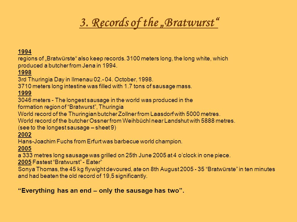 "3. Records of the ""Bratwurst"