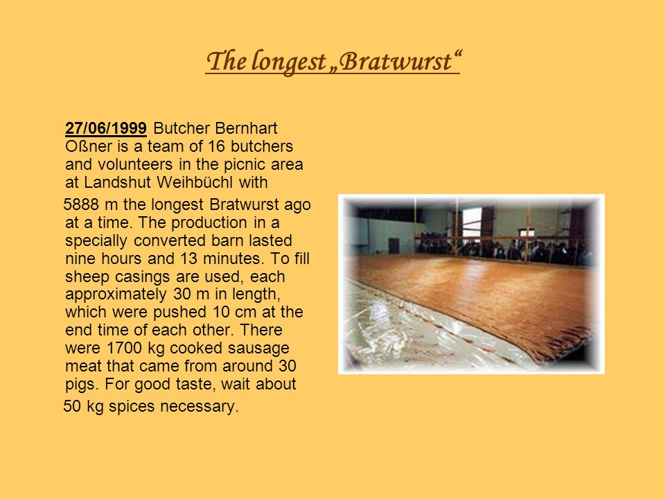 "The longest ""Bratwurst"