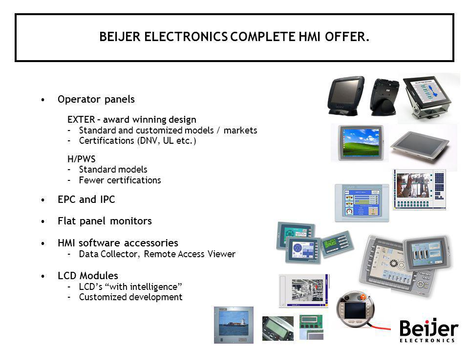 BEIJER ELECTRONICS COMPLETE HMI OFFER.