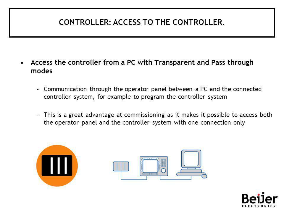 CONTROLLER: ACCESS TO THE CONTROLLER.