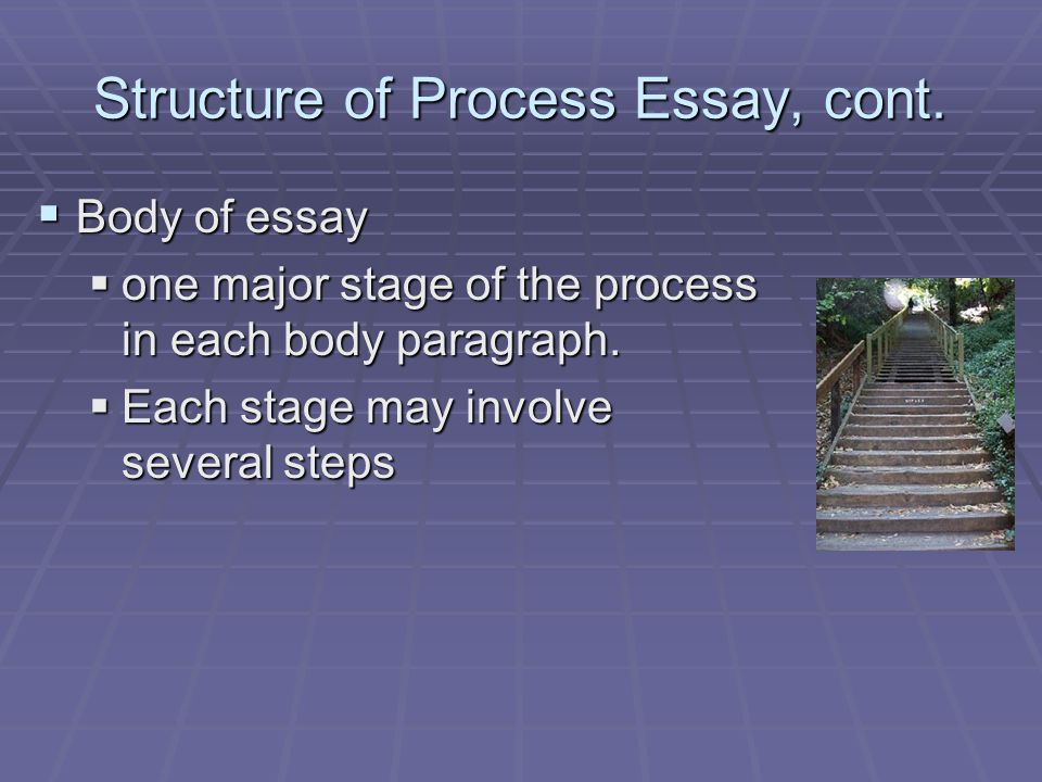Structure of Process Essay, cont.