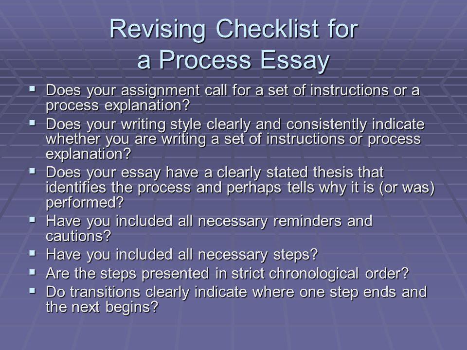 Revising Checklist for a Process Essay