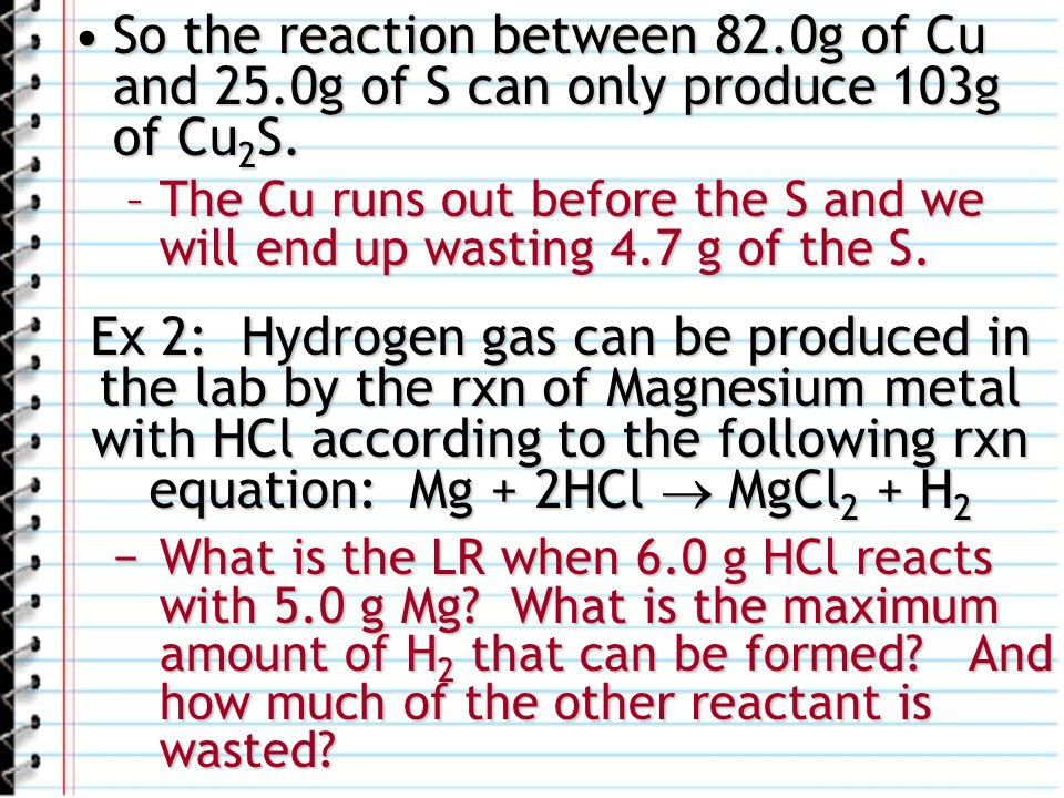 So the reaction between 82. 0g of Cu and 25