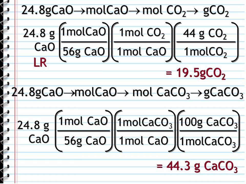 24.8gCaO molCaO mol CO2 gCO2 LR = 19.5gCO2 24.8gCaO molCaO