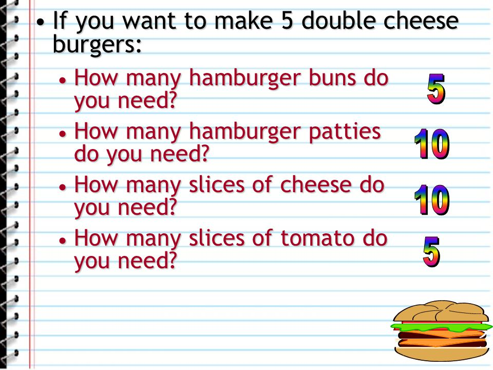 If you want to make 5 double cheese burgers: