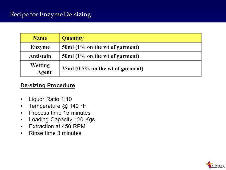 Recipe for Enzyme De-sizing