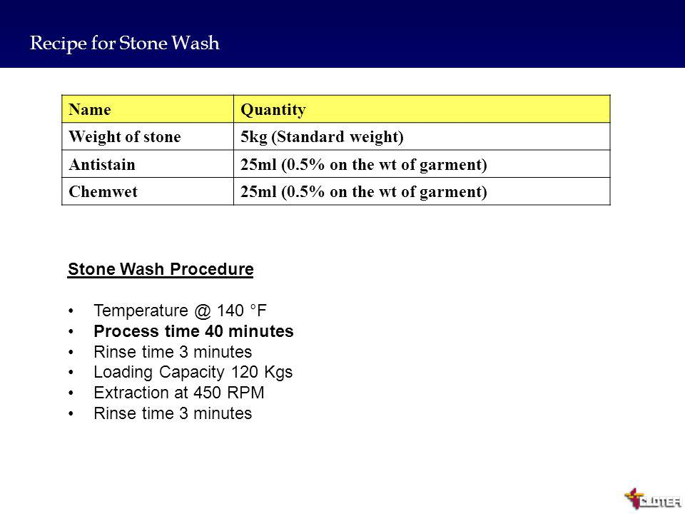 Recipe for Stone Wash Name Quantity Weight of stone