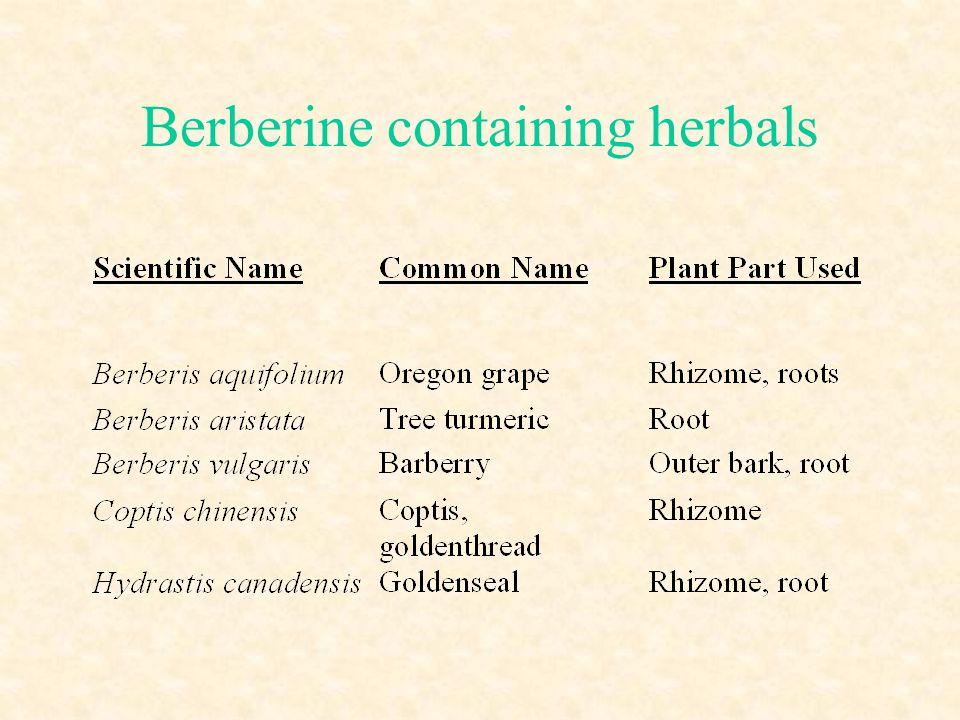 Berberine containing herbals