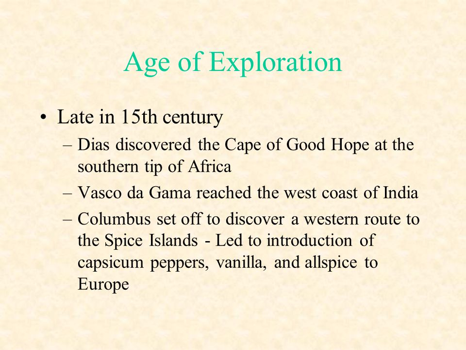 Age of Exploration Late in 15th century
