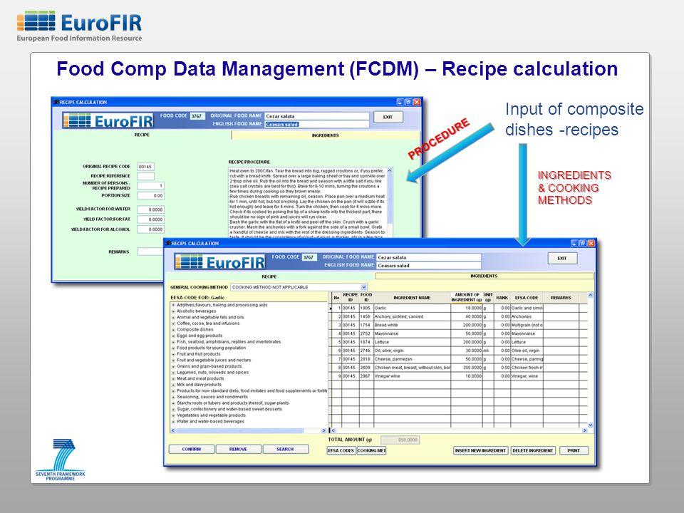 Food Comp Data Management (FCDM) – Recipe calculation