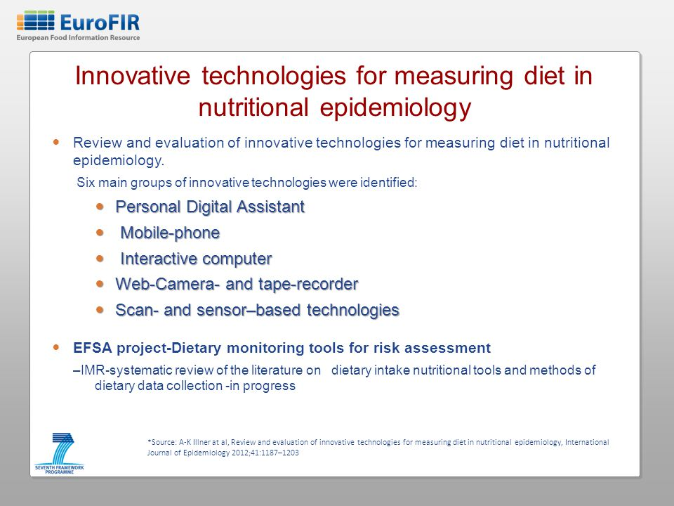 Innovative technologies for measuring diet in nutritional epidemiology