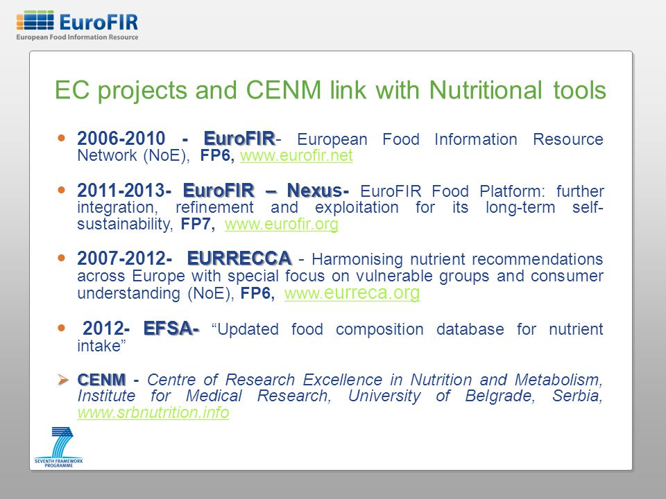 EC projects and CENM link with Nutritional tools