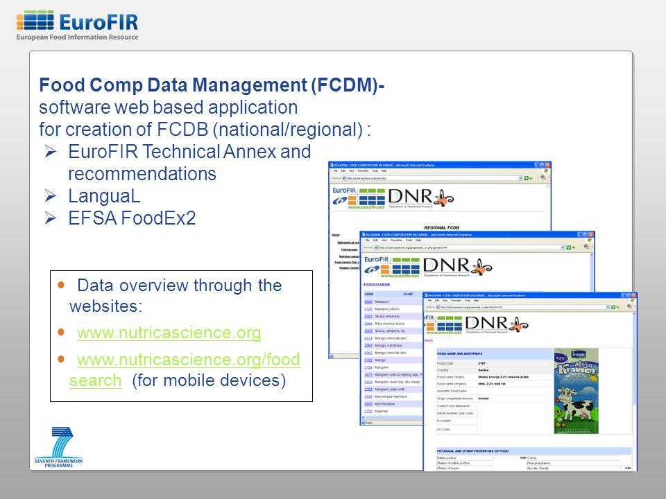 Food Comp Data Management (FCDM)- software web based application
