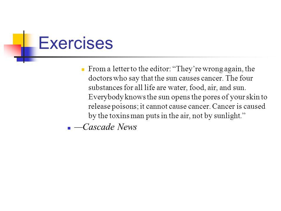 Exercises —Cascade News