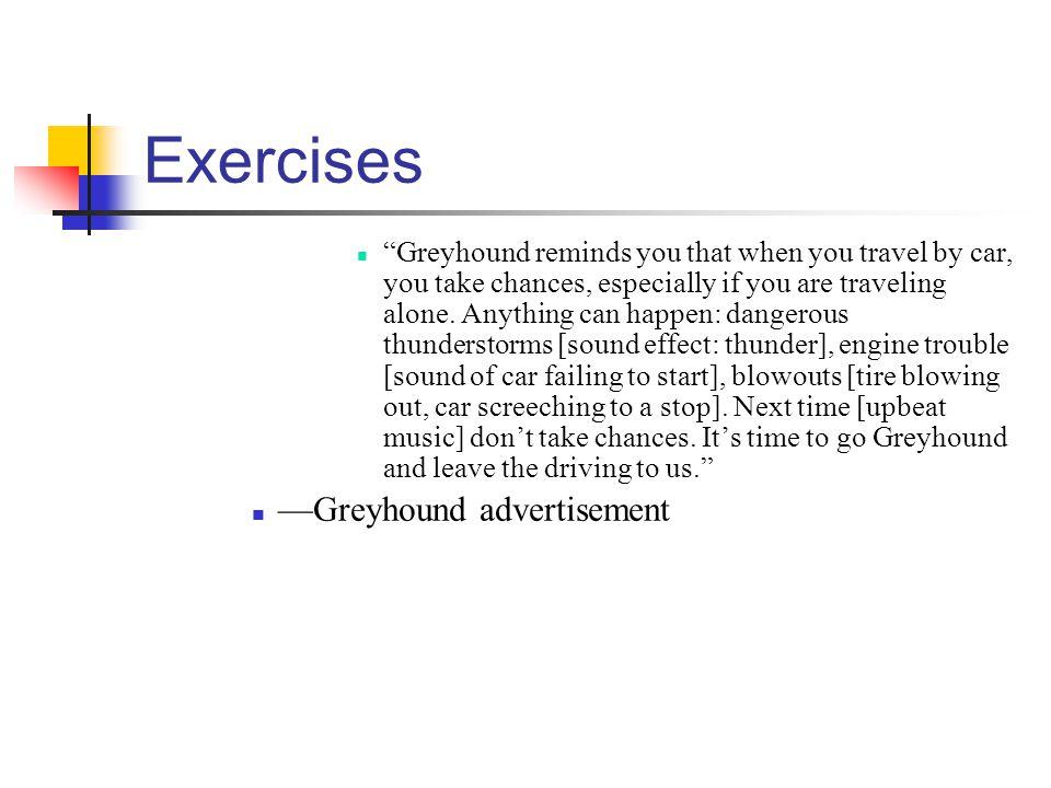 Exercises —Greyhound advertisement