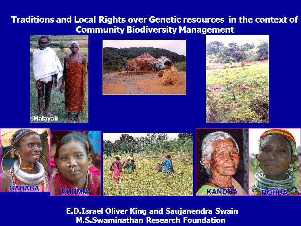 Traditions and Local Rights over Genetic resources in the context of