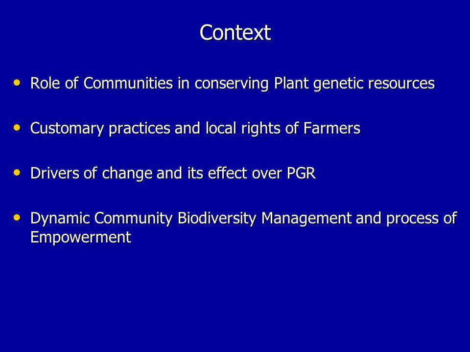 Context Role of Communities in conserving Plant genetic resources