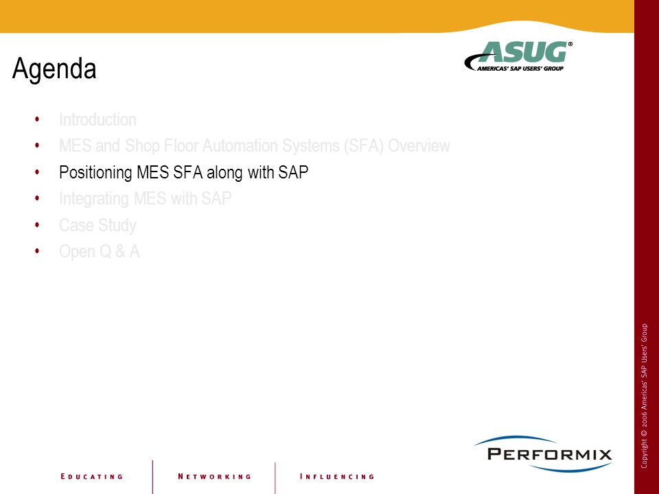 Agenda Introduction. MES and Shop Floor Automation Systems (SFA) Overview. Positioning MES SFA along with SAP.