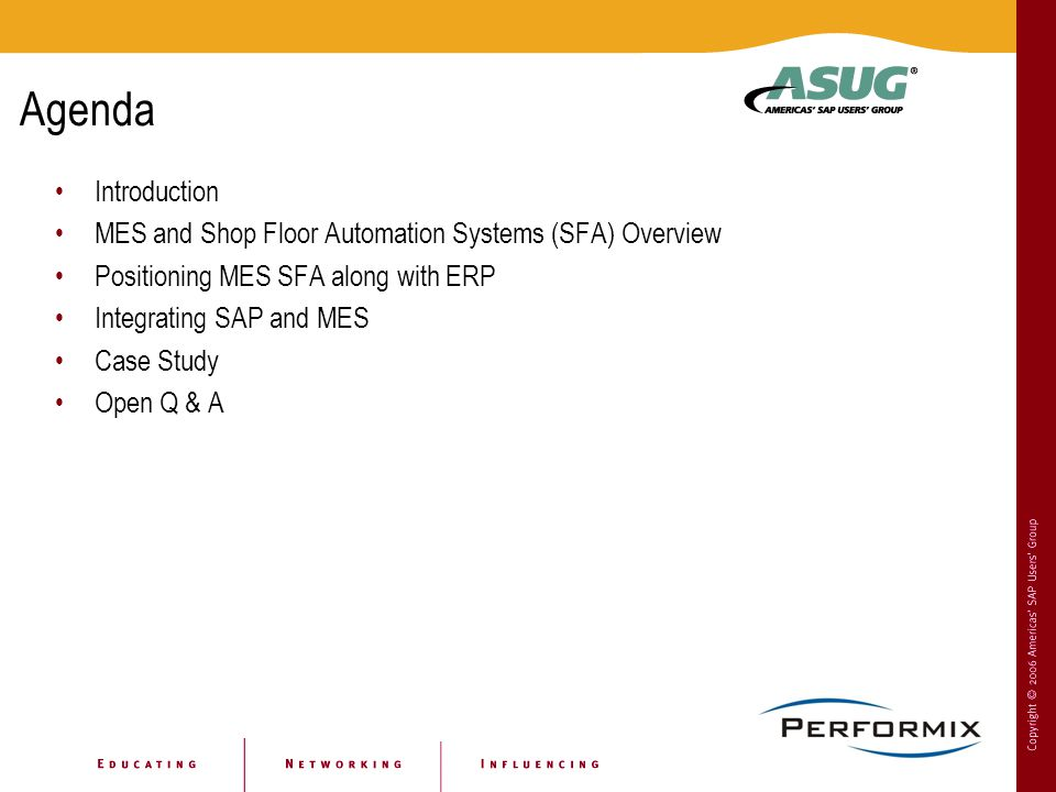 Agenda Introduction. MES and Shop Floor Automation Systems (SFA) Overview. Positioning MES SFA along with ERP.
