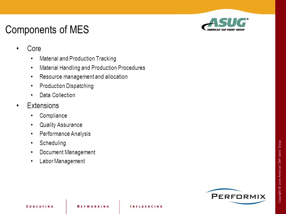 Components of MES Core Extensions Material and Production Tracking