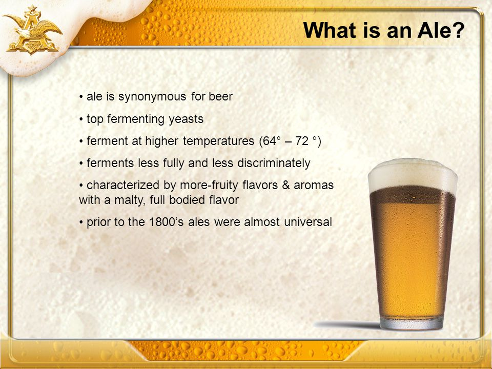 What is an Ale ale is synonymous for beer top fermenting yeasts
